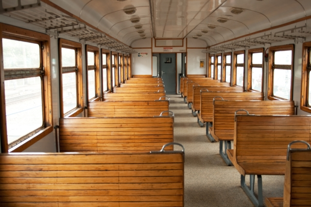 The electric train car inside