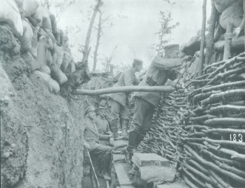 World War 1 A german trench, with some soldiers