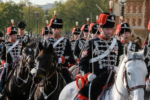 Hussars parading on horseback at the Lord Mayor's Show London